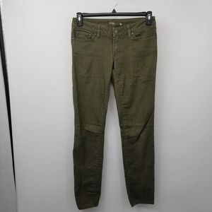 Prana Kara Olive Green Skinny Fit Jeans Mid-Rise
